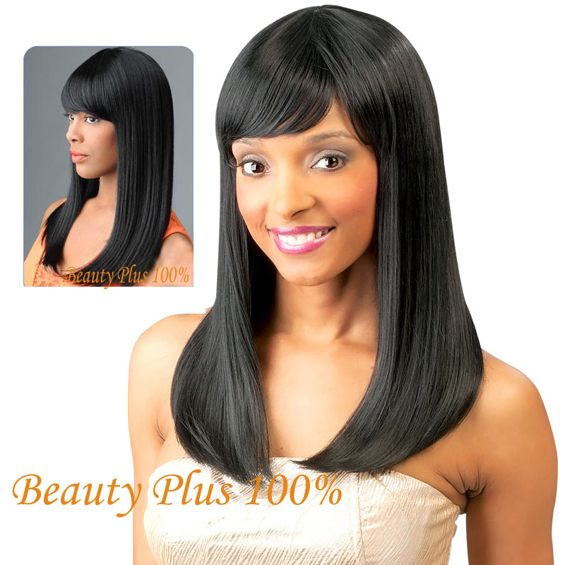 High Quality Heat Resistant Classy Style Black Long Straight Cheap Wig Synthetic for Black Women Harley Quinn WIg Perucas<br><br>Aliexpress