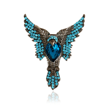DoreenBeads Unique Eagle Brooch with Blue Rhinestone Punk Style Safety Pin Boys Men Accessory for Coat Suit Shirt Collar 6.5x5cm(China)