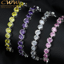 CWWZircons 7 Color Options Round Cut CZ Tennis Women Bracelet With Pink Purple Crystal Fashion Cubic Zirconia Jewelry  CB180