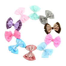 10 Pcs/ Lot Small Mini Bow Hairgrips Sweet Girls alligator clip Printing Whole Wrapped Safety Hair Clips Kids Hairpins 731(China)