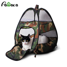 Foldable Cat Houses Portable Indoor Outdoor Pets Tents Fashion Breathable Camouflage Print Cat Puppy Dog Play Houses With Mat