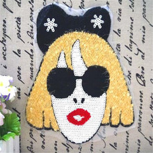 Free shipping women girl clothes cute Sequins patches gaga women head logo fashion embroidery patch for clothing fabric DIY