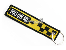 "Yellow Bag Tag with Black Embroider "" Follow me, Slow""  Travel Luggage Tag for Airport Worker Flight Crew Aviation Lover"