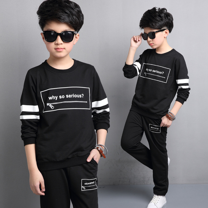 Kids boys spring / fall 2 pcs sets 2017 new baby boy clothing fashion striped letters printing suit 4/5/6/7/8/9/10/11/12/13<br>