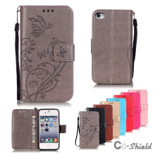 Case for Apple iPhone 4S solid color single embossed pattern leather case fashion card slot bracket wallet clamshell phone cover