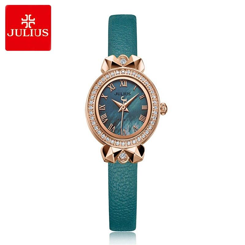 New Retro Lady Womens Watch Japan Quartz Hours Elegant Leather Bracelet Rhinestone Clock Girls Birthday Gift Julius Box<br>