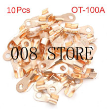 10Pcs 100A Copper Battery Cable Connector Terminal Crimping 10-25mm2 Wire OT-100A(China)