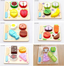 Montessori education wooden cut to see fruit and vegetable dessert children at home wood puzzle early childhood education toys