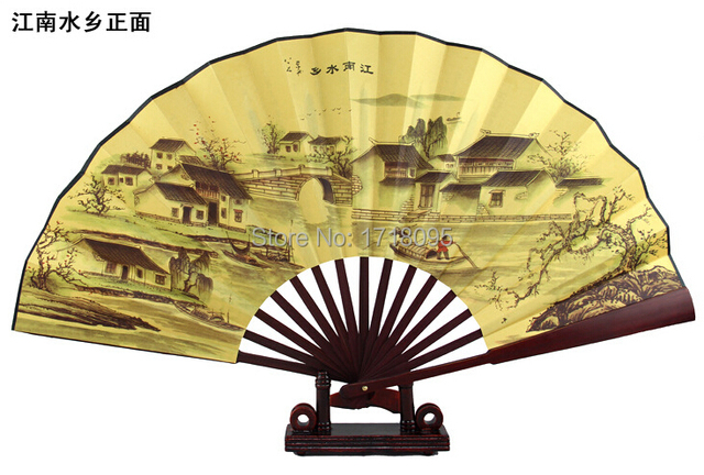 Free Shipping Chinese Folding Fan Of Landscape Painting Jiangnan 33cm Big Size Men Hand Fans