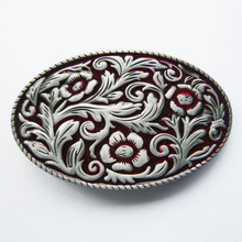 Retail Distribute Red Western Cowgirl Flower Vintage Belt Buckle BUCKLE-WT097RD Free Shipping