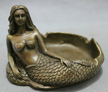Free shipping Chinese Bronze Copper Folk Myth Belle Mermaid Sea-maid Fish Statue Ashtray