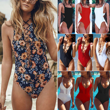 Buy Bikini 2018 New Sexy 1 one piece swimsuit Backless Padded swim suit women Swimwear Bathing suit swim wear female Monokini