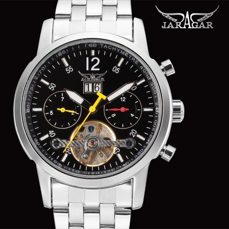 Fashion JARAGAR Men Luxury Brand Watch Stainless Steel Band Tourbillion Automatic Mechanical Wristwatch Gift Box Relogio Releges<br>