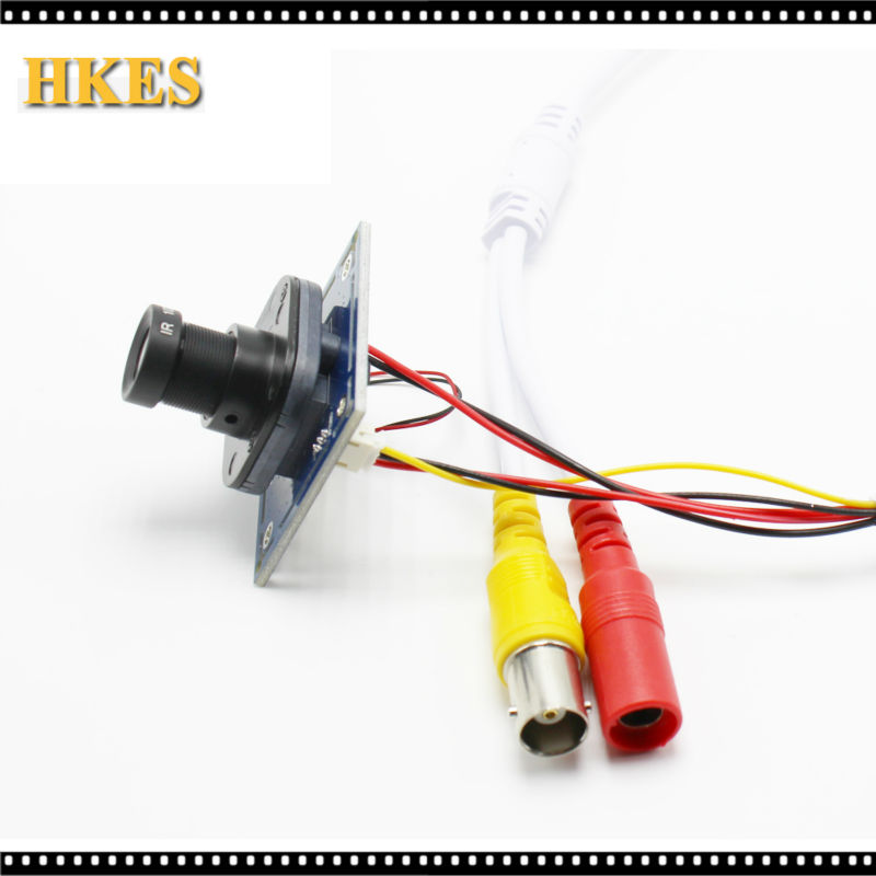4pcs/lot HKES HD 1200TVL CCTV Analog Mini Camera module board with IR-CUT and BNC cable 3.6mm lens<br><br>Aliexpress
