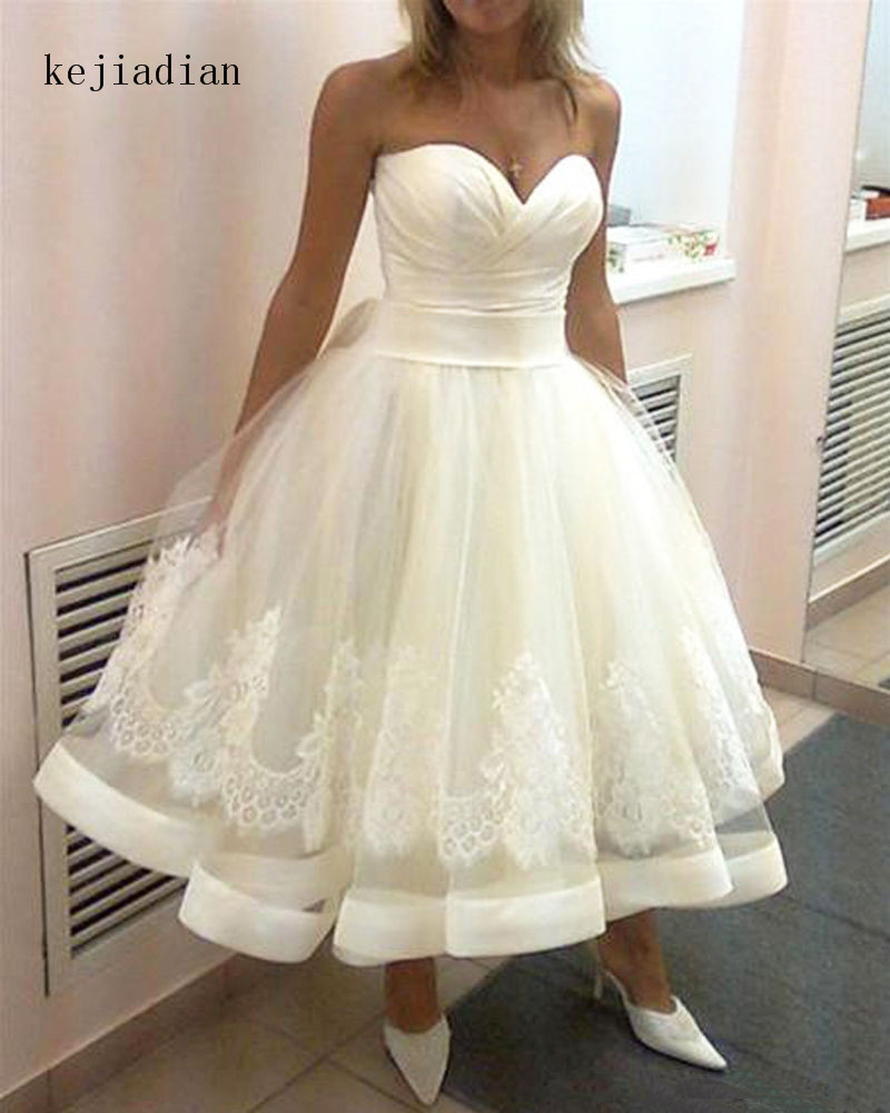 robe de mariage Sweetheart Lace Wedding Dresses Tea Length Vintage Short Bridal Gown Ball Gowns wedding gown
