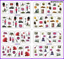 4 PACKS / LOT BRITISH SOLDIER POP GUITAR NAIL TATTOOS STICKER WATER DECAL NAIL ART BOP072-075