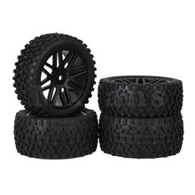 Mxfans 4 x RC 1:10 Plastic 16 Spoke Wheel Rims + H Type Rubber Tyres for Buggy