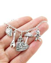 12pcs/lot Kaylee's Charms A  Character Necklace in silver