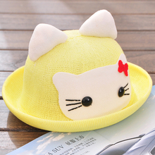 Free shipping spring and summer baby hat 1 - 2 - 4 years old child sun-shading strawhat princess summer hat(China)