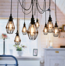 8 arm Ceiling Spider pendant Lamp Light E27 bakelite holders PVC wire Fairy Scattering Flowers Chandelier lampshade Pedant light