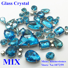 46pcs/pack Mixed Shapes Sizes Aquamarine Color Sewing Glass Crystal Sew On Rhinestone with Claw Setting Loose Stone For Garments