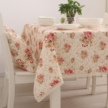 Spring Series Printed Floral Rose Tablecloth Garden Party Decoration Cloth With Lace Cotton Print Table Cloth Cover Home Decor