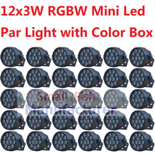 30xLot Hot Sales Mini LED Par Light 12x3W RGBW Flat Led Par Can Sound Active Disco DJ DMX KTV Party Nightclub Bar Stage Lighting(China)