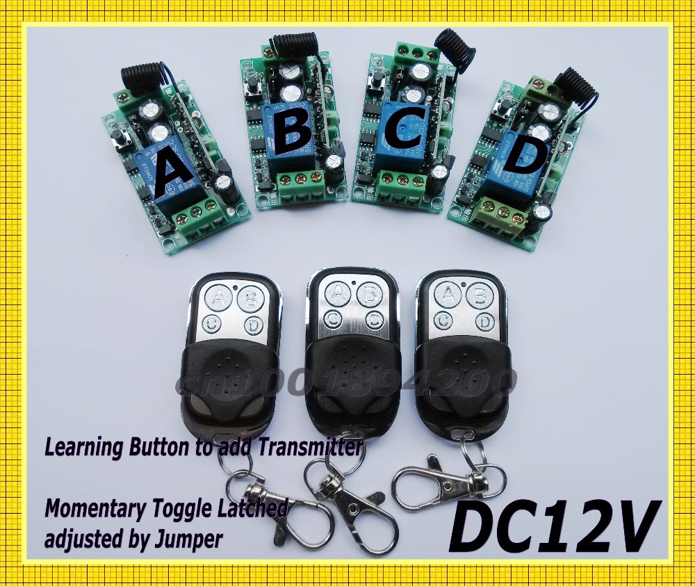 Remote Switch 12V DC RF Wireless 4 Receiver 3  Transmitter Lighting Digital Switch Learning Code Toggle Momentary 315/433.92MHZ<br>