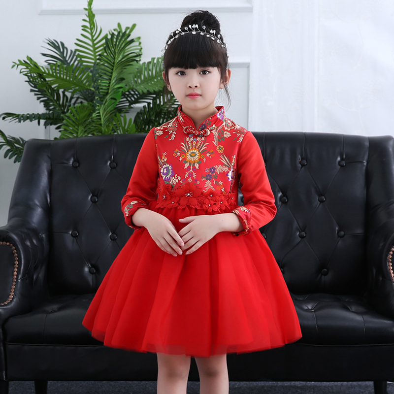 New Long Sleeves Girl Princess Dress Red Retro Cheongsam Performance Dresses<br>