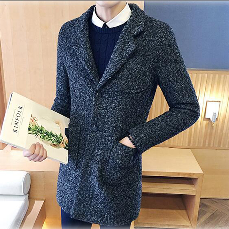2017 Men Fashion Trench Coat Turn-Down Collar Single Breasted Mens Trench Coat Slim Fit windcheater Brand-Clothing Veste Homme