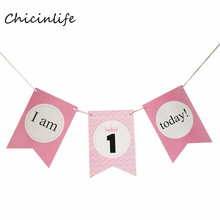 Chicinlife 1set Baby Shower Supplies I am 1 Today Garland Girl Boy Birthday Party Ddecoration Banner Chair Decoration(China)