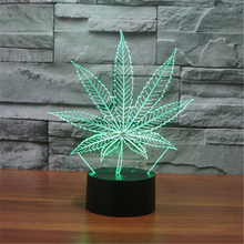 3D LED Table Lamps marijuana Maple Leaf Night Lamp LED NightLight Acrylic Colorful Gradient Atmosphere Lamp Best Gifts promotion