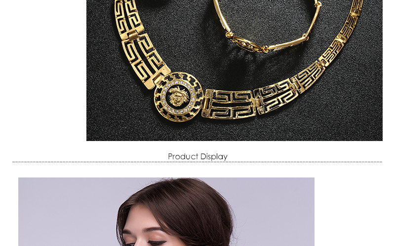 AYAYOO African Dubai Jewelry Sets 2018 Nigerian Gold Color Jewellery Sets For Women Wedding Imitation Crystal Necklace Set (3)