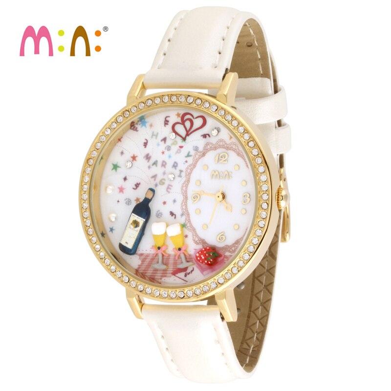 Luxury Brand Gold Ladies Watch Fashion Waterproof 3D Wine Bracelet Women Quartz Wrist Watch Clock Woman 2017 Relogio Feminino<br>