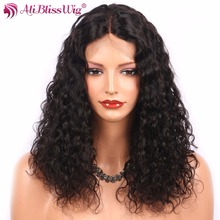 AliBlissWig Lace Front Human Hair Wigs 1*3.8 Inch Brazilian Remy Hair Natural Color Medium Brown Middle Part Kinky Curly(China)