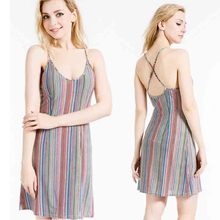 2017 Sling wrap dress fashion Ice silk backless suespender summer dress soft rainbow color sleeveless women dress freeshipping