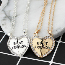 Best Friend Necklace 2 Pieces Stitching Charming Broken Heart-shaped Women's Wholesale Forever Gold Silver Jewelry