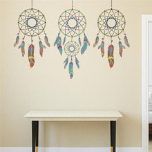 Creative Indian Style 3 DreamCatchers Wall Stickers Creative Mysterious Dream Catchers Wall Sticker for Living Room Home Decor