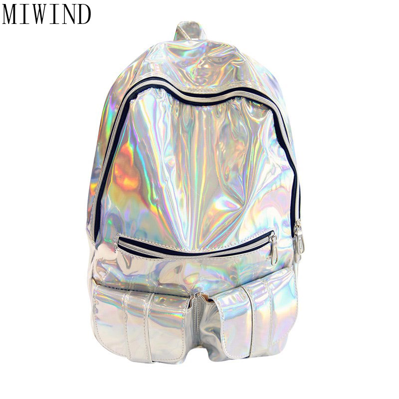 Women Bright Laser bag Backpack for School Teenagers Stylish School Bag Ladies Backpack Female Back Pack TSY784<br>