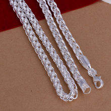 925 sterling silver necklace for women men 6mm wide twisting circle choker chain long necklaces statement fashion pendant CN083