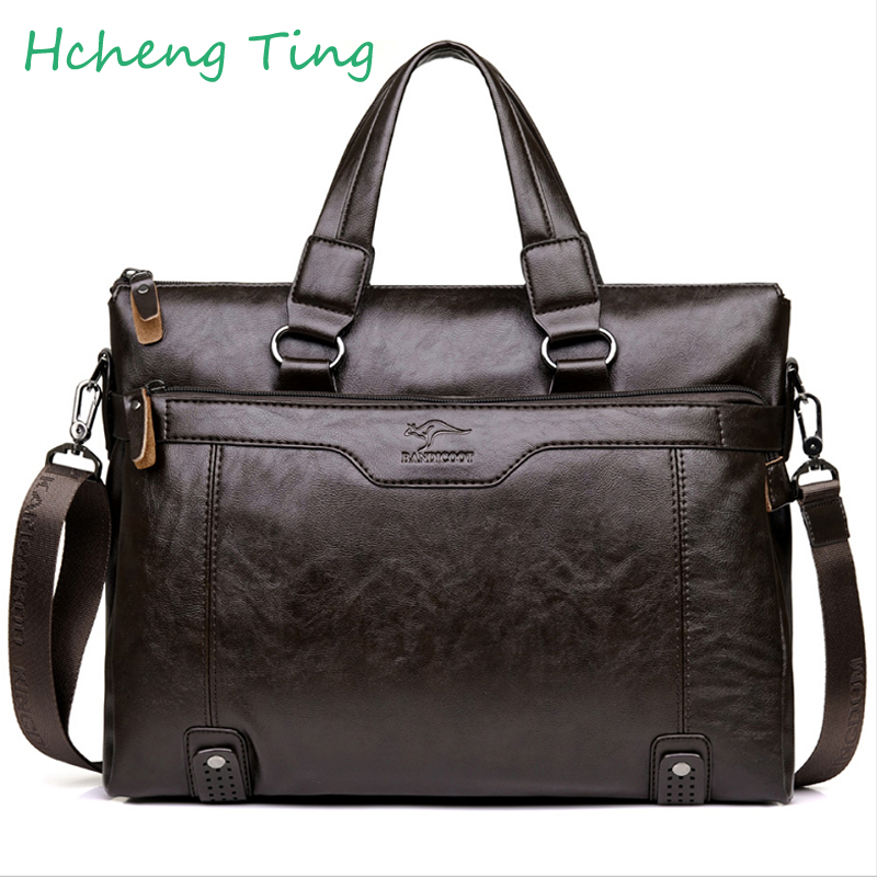 Brand Kangaroo  Men Casual Briefcase Business Shoulder Leather Messenger Bags Computer Laptop Handbag Mens Travel Bags<br>