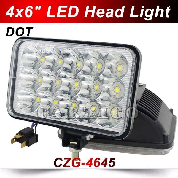 CZG-4645 DOT Approved 6X4inch 45W led headlight 5square low/ high beam LED driving light LED head lamp LED work light for truck<br>