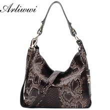 Arliwwi Brand High Class Genuine Leather Elegent Lady's Snake Grain Big Bags Designer Multi Function tote Handbags B0321