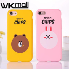 Korean Brown Chips Bear Cartoon Rubber phone Case cover fFor iPhone 6 6s 7 Plus 5 5s SE Case Hard Plastic Matte Back Cover Coque