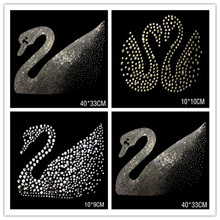 hotfix Iron Applique clear round crystal rhinestones swan sweater clothing T-shirt chest decoration sequins Y05
