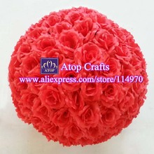 Free EMS Shipping 2pcs 50cm Silk Rose Kissing Balls Artificial Large Rose Flower Balls For Party Wedding Centerpiece Decoration