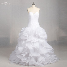 LZ158 Alibaba Sweetheart Illusion Ruffle Sleeveless Wedding Gowns A Line Wedding Dress Lace Dress Vestido De Novia