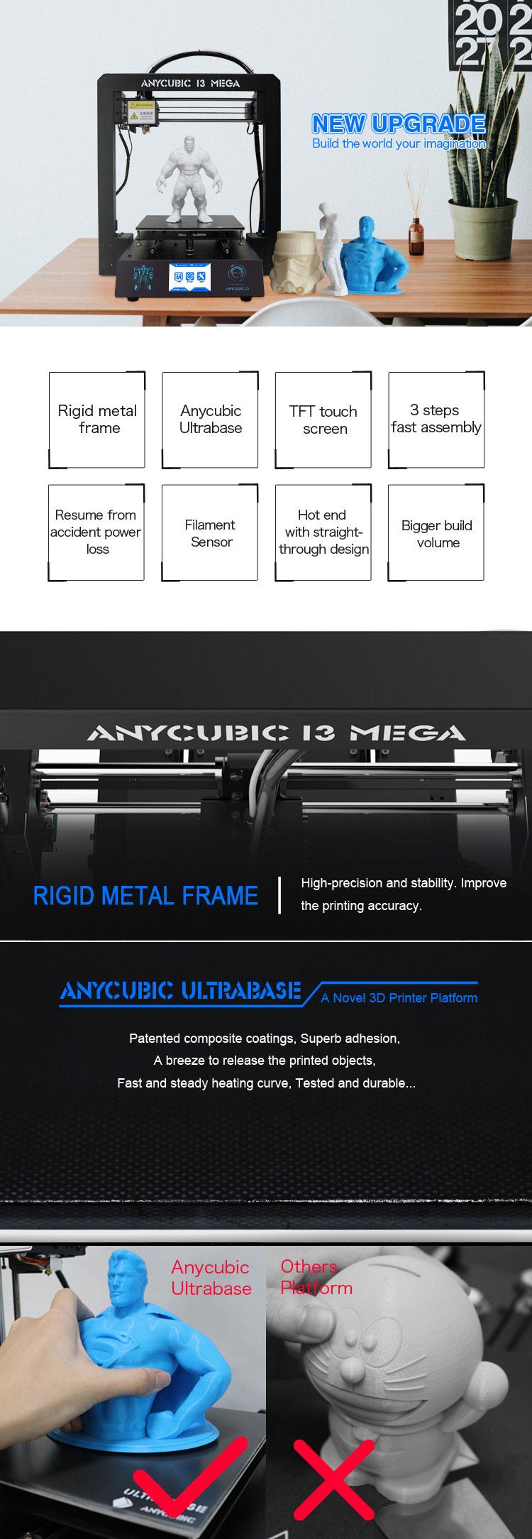 Anycubic 3D printer impresora 3d I3 Mega full metal imprimante 3d High Precision Patented Lattice Platform 3d printer kit (2)