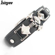 ISINYEE 2017 Skeleton Skulls Bracelet Wide Leather Cross Bracelets Bangles For Women Men Silver Punk Jewelry Best Friends Gift(China)