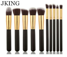 Sexy beginner New High Quality JKING 10PCS Makeup Brushes Cosmetics Foundation Blending Kit Set Wooden Makeup tool Recommend hot